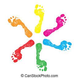 voet drukt af, kleurrijke