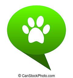 voet, groene, bel, pictogram