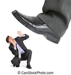 voet, groot, ondernemer, kleine, gedrang, crisis