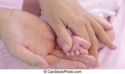 voet, pasgeboren, masseren, baby