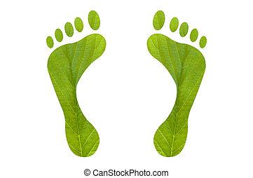 voet printen, groene, menselijk