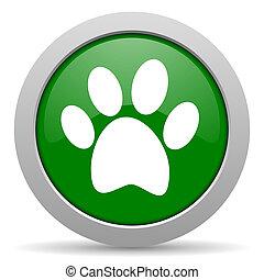 voet, web, groene, glanzend, pictogram