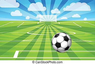 voetbal, akker, spel, gras, het liggen