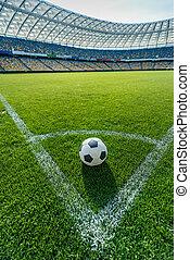 voetbal, akker, stadion, hoek, positie, gras, schop