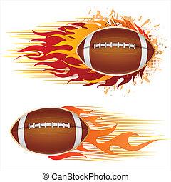 voetbal, amerika, vlammen