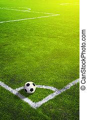 voetbal, bovenzijde, bal, corner., aanzicht