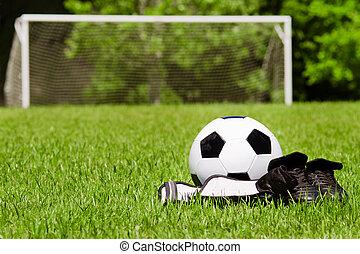 voetbal, concept, shin, ruimte, sporten, gardetroepen, akker, cleats, kind, kopie, bal