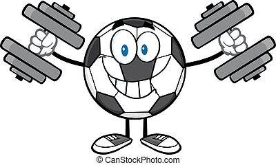voetbal, dumbbells, bal