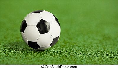 voetbal, gras, groene, speelplaats, bal