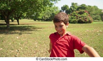 voetbal, kind, spelend, jongen, geitje