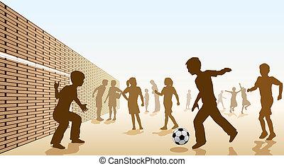 voetbal, schoolyard