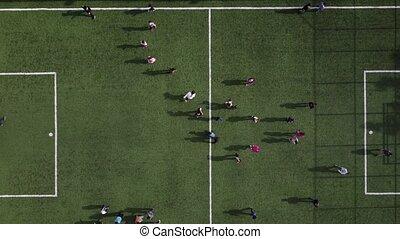 voetbal, spelend, groene, geitjes, akker