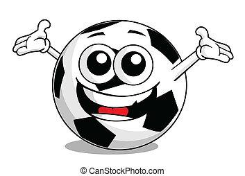 voetbal, spotprent, bal