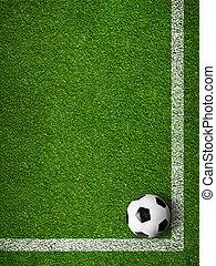 voetbal, tekening, bal, bovenzijde, lijnen, ingelijst, achtergrond., overzicht., sportende, witte
