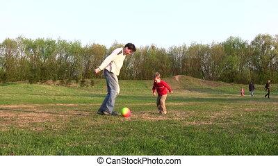 voetbal, vader, kind