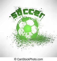 voetbal, vector, grunge, bal