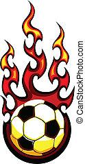 voetbal, vector, het vlammen, bal