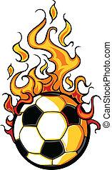 voetbal, vector, het vlammen, bal, spotprent