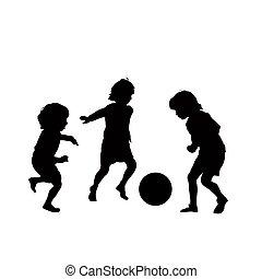 voetbal, vector, kinderen