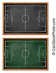 voetbalveld, voetbal, p, borden, formation., pek, team, of