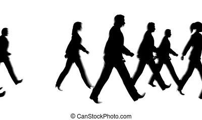voetganger, wandelende, silhouette, mensen