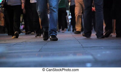voetgangers, wandelende, bestrating