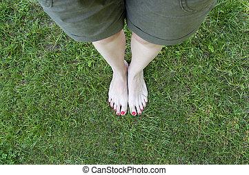 voetjes, achtergrond., gras, blote