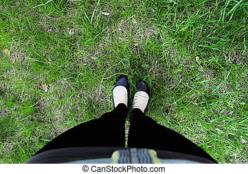 voetjes, gras, achtergrond, laarzen