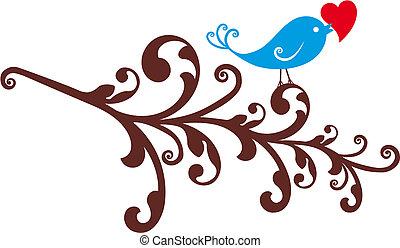 vogel, hart, decoratief, rood