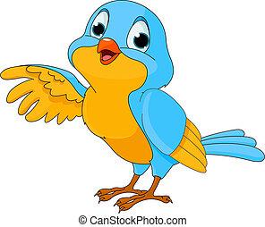 vogel, schattig, spotprent