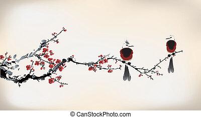vogel, schilderij