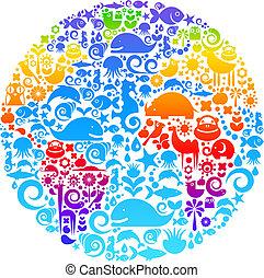 vogels, gemaakt, dieren, schets, iconen, globe, bloemen
