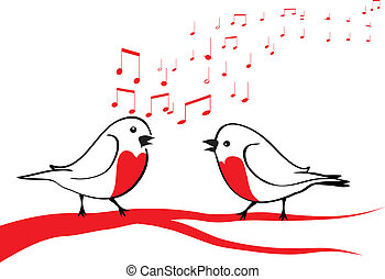 vogels, tak, boompje, het zingen