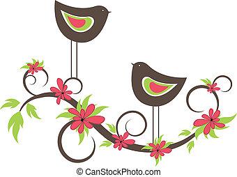 vogels, twee, vector, love.
