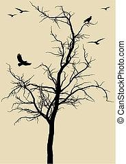 vogels, vector, boompje