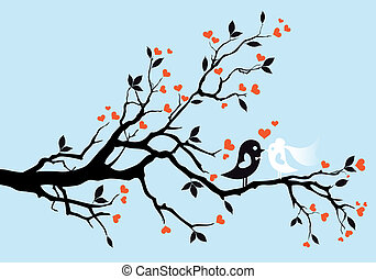 vogels, vector, trouwfeest