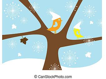 vogels, vector, winter