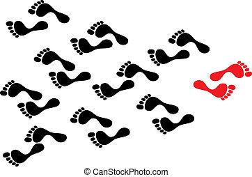 volgt, concept, menigte, tonen, follows., voetafdrukken, footmark, stroom, tegen, individualiteit, persoon, terwijl, vastberaden, black , getijde, weg, steegjes, taken, opstand, leider, rood