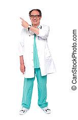 volle, arts, beeld, op, lengte, het indiceren