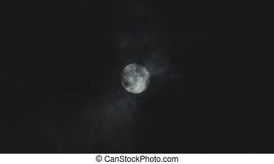 volle, avond lucht, bewolkt, maan, tegen