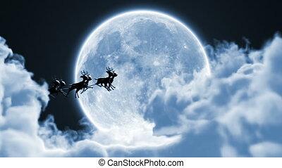 volle, rendier, tussen, claus, wolken, maan, vliegen, mooi, arreslee, 3d, achtergrond, hd, animatie, kerstman