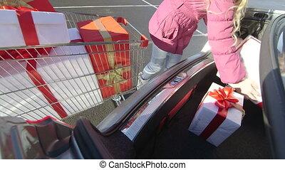 volle, shoppen , cadeau, koper, auto, kar, dozen, romp, meisje, ladingen