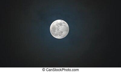 volle, tegen, nacht, bewolkte hemel, maan