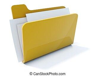 volle, vrijstaand, gele, map, witte , pictogram