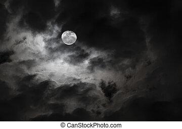 volle, wolken, griezelig, spooky, maan, witte