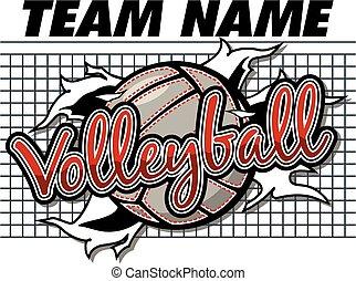 volleybal, ontwerp, team