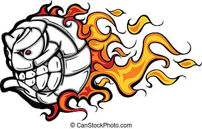 volleybal, vector, het vlammen, bal, gezicht