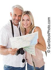 volwassen paar, het kijken, kaart, vrolijke