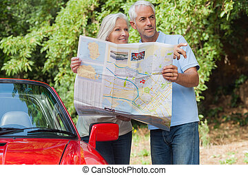 volwassen paar, richting, lezende , het kijken, het glimlachen, kaart