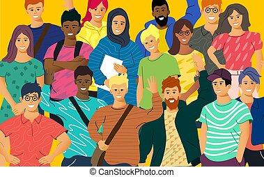 volwassene, jongeren, multicultureel, menigte